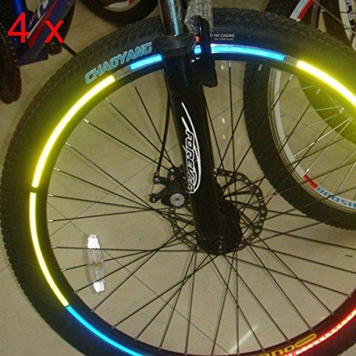 4pcs jantes de roue de bicyclette autocollants réfléchissants lumineux autocollants réfléchissants lumineux autocollants réfléchissants lumineux