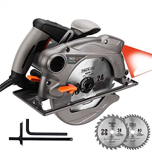 Scie circulaire TACKLIFE, 1500W, 2 lames 185 mm (24T et 40T), guide ...