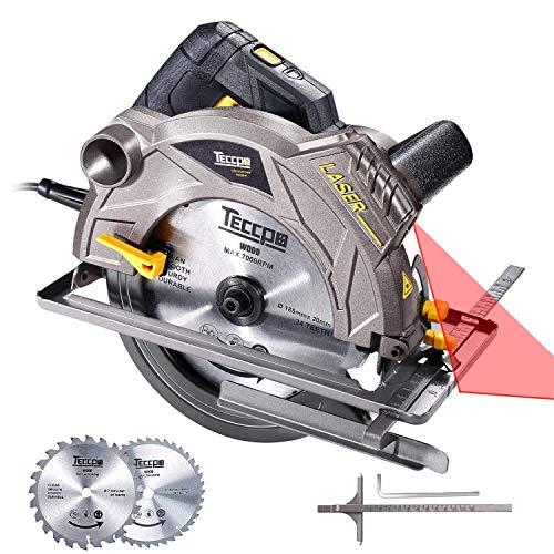Scie circulaire, TECCPO 1500W 5800 RPM Scies circulaires, guide laser, 2...