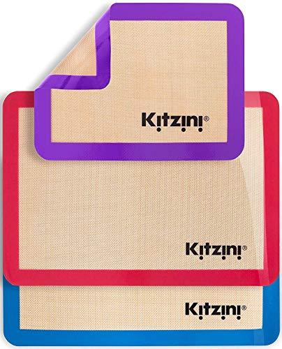 Ensemble (3) de 2 demi-feuilles en silicone pour la cuisson 16,5' x 11 5/8' +...