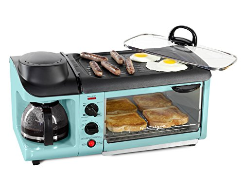Nostalgie BSET300BLUE Retro Series 3-in-1 Family Size Breakfast Station by...