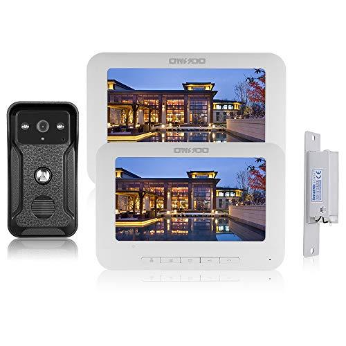 OWSOO Portier vidéo 7 pouces, 2 moniteurs intérieurs + 1 caméra extérieure +...