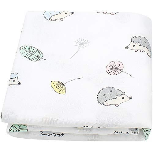 Couverture en mousseline de bébé LifeTree, motif hérisson, en coton et bambou...