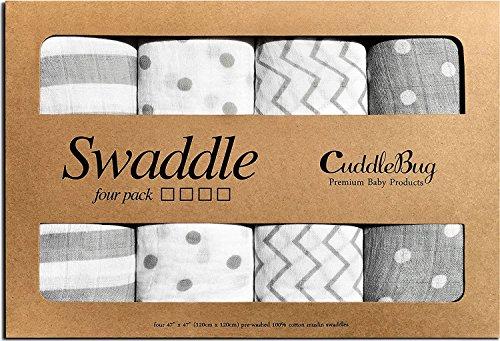 Couvertures en mousseline unisexe CuddleBug - Lot de 4 - Feuilles d'emballage,...