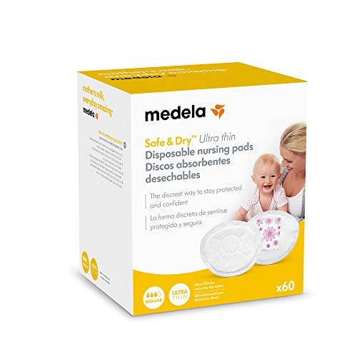 Medela Safe & Dry Ultra Thin - Disques absorbants jetables, 60 unités