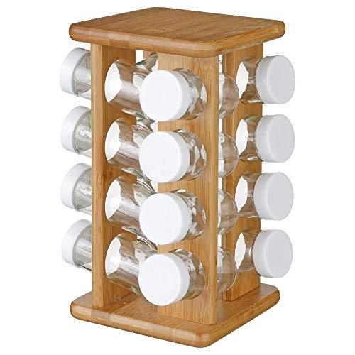 Support rotatif pour épices en bambou - 16 pots en verre + support rotatif