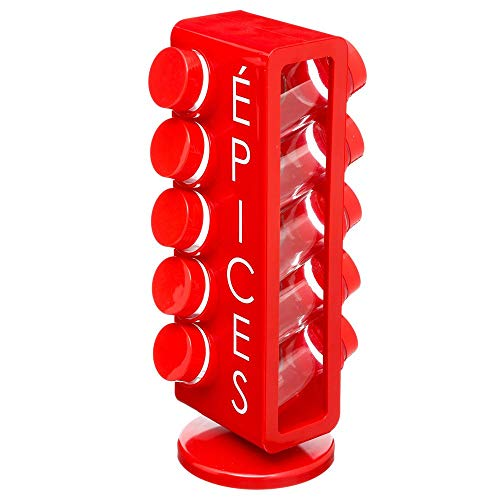 Porte-épices dans un support rotatif avec 10 pots en verre - Pratique et...