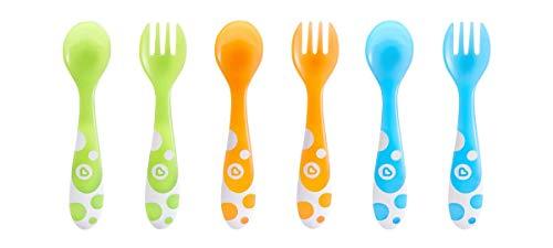 Munchkin - Set de 3 fourchettes et 3 cuillères, couleurs assorties