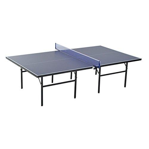 Homcom Table de ping-pong pliable avec filet 152,5x274x76cm Tennis de table et matériel Acier et MDF en couleur...