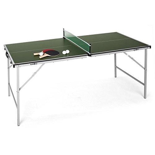 Table de ping-pong pliable Klarfit King Pong (revêtement résistant aux chocs, montage et transport faciles, comprend deux pagaies et trois...