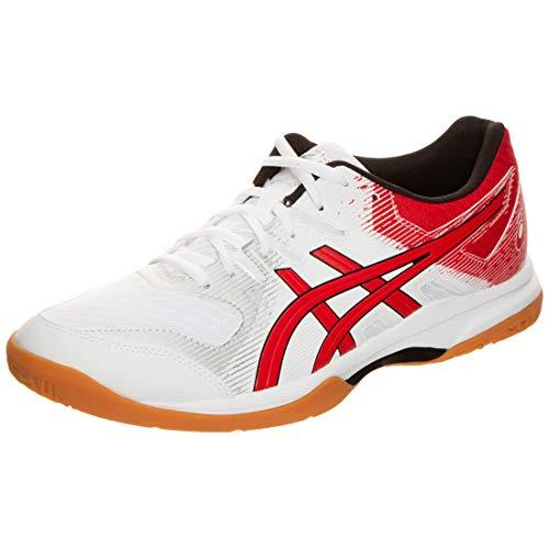 Asics Gel-Rocket 9, Chaussure de sport pour hommes, Blanc/Rouge, 46 UE